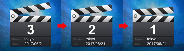 TIPS. ZEUS RECORD、録画開始時のカウントダウンを表示する方法、しない方法: カウントダウンの表示した場合の映像